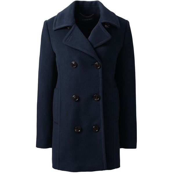 Lands' End Women's Plus Size Relaxed Wool Peacoat (7,395 DOP) ❤ liked on Polyvore featuring outerwear, coats, jackets, blue, blue pea coat, pea jacket, womens plus coats, plus size peacoat and woolen coat