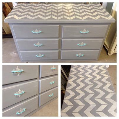 SOLD-Chevron Gray Dresser with Teal Hardware on Etsy, $325.00