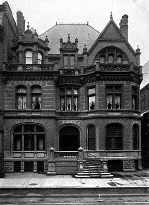 Between 1883 and 1886, John Wanamaker commissioned Theophilus Parsons Chandler, Jr. (1845-1928), the eminent Philadelphia architect and founder of the Department of Architecture at the University of Pennsylvania, to design a Jacobean Revival double row mansion to serve as his urban dwelling at 2032 Walnut Street.  The house was featured in King's Views of Philadelphia (as seen above).