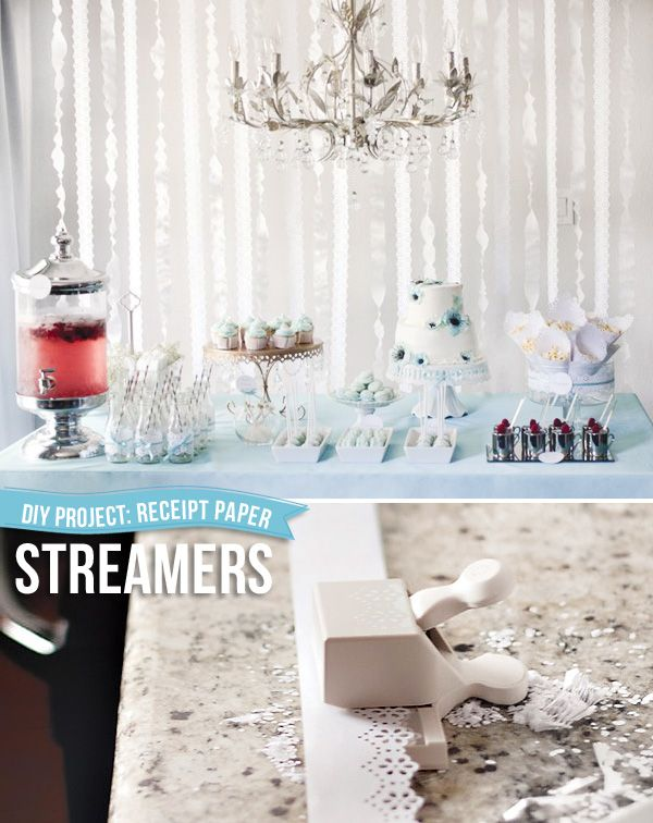 DIY streamers made from receipt paper and a paper punch.