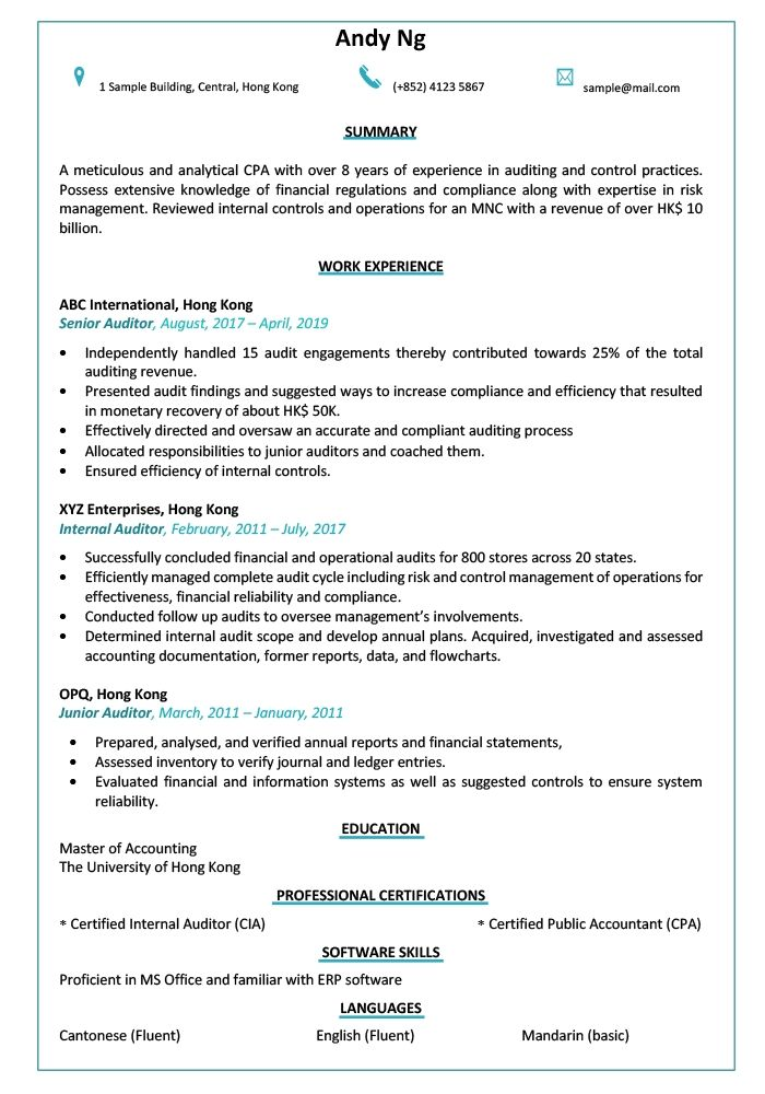Resume Cv Sample For Auditor Jobsdb Hong Kong Cv Template Cv Design Template Accountant Resume