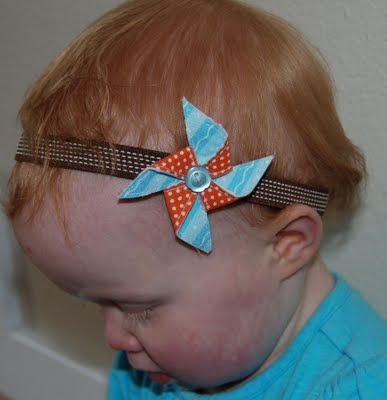 Pinwheels on a headband- perfect combo. I think I could actually make these
