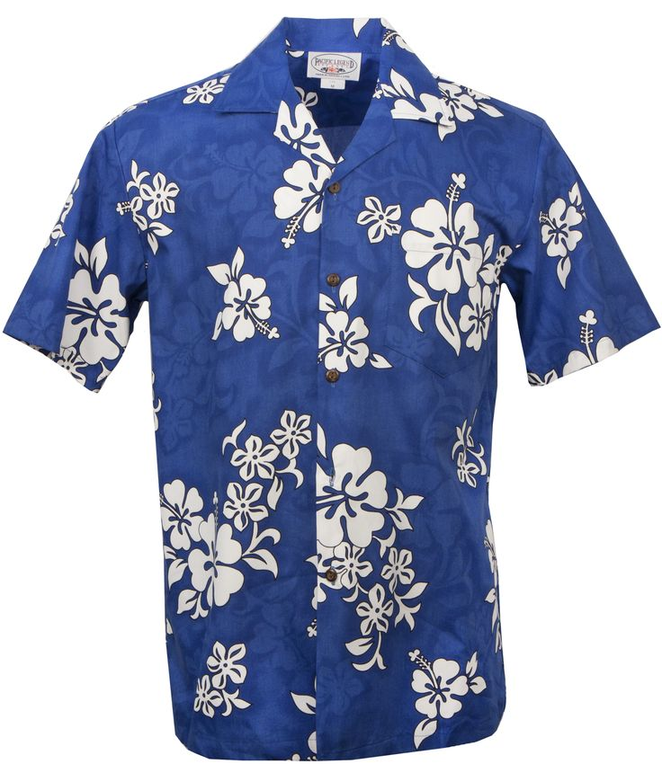 White Hibiscus Mens Hawaiian Aloha Shirt in Blue, Mens Hawaiian Shirts Clothing, 410-3156_Blue - Paradise Clothing Company