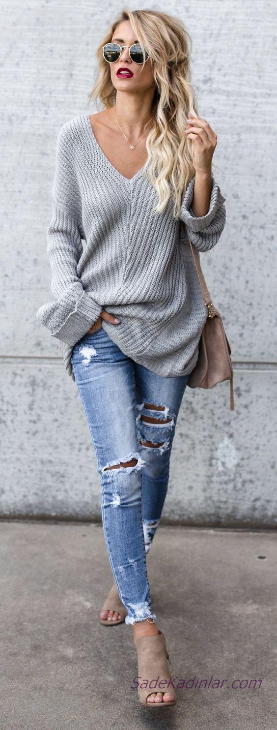 2019 Winter kombinierte blaue zerrissene Jeans Hosen grauer V-Ausschnitt lose Pullover   – Clothes