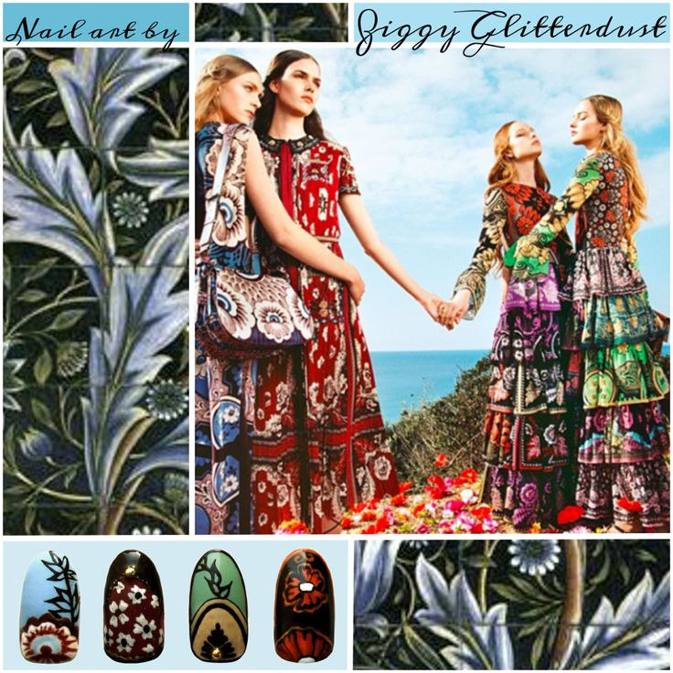 #nailart by Ziggy Glitterdust; Inspired by #Valentino #springsummer2015 #campaign; #fashioninspired #collage