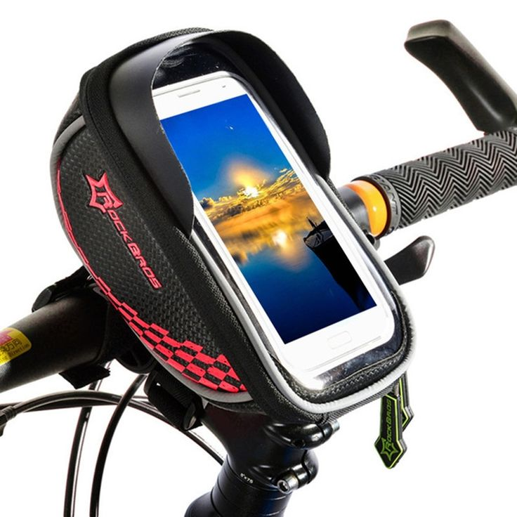 Rockbros Bike Bag 5.5'' Touchscreen Waterproof Phone Case Bicycle Handlebar Bag Cycling Front Top Tube Bag Red  sports outdoor fitness cycling