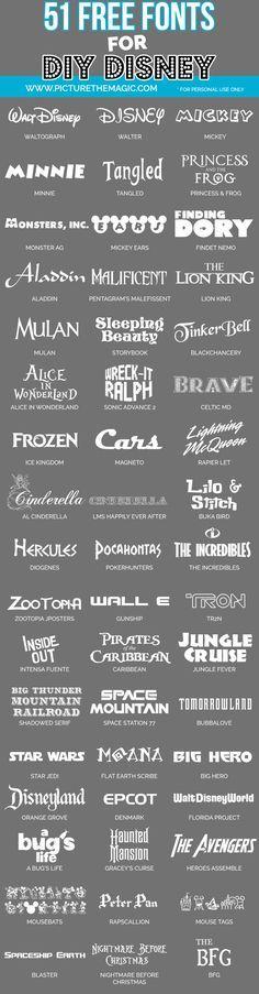 Wow! 58 free Disney fonts from Disney movies, Disney parks, etc.                                                                                                                                                                                 Mehr