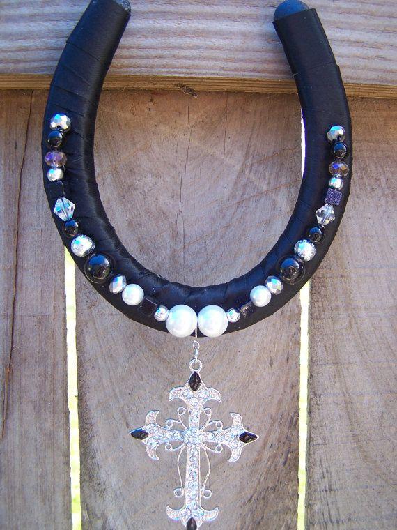 Decorative Beaded Horseshoe with Cross by LKsBeadedHorseshoes, $10.00