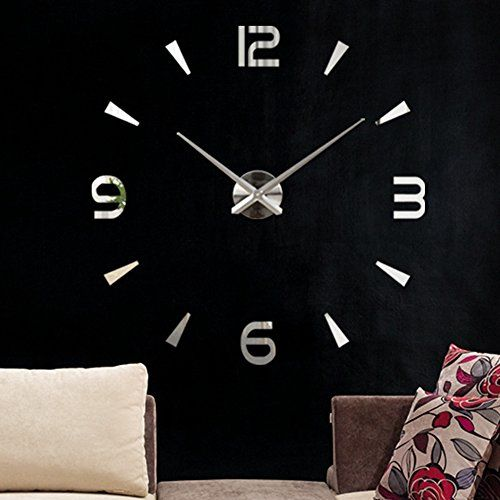 modern 3d frameless large wall clock style watches wall sticker diy room home decorations big timer