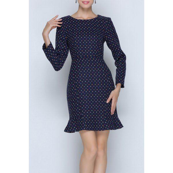 $56.80 Printed Mini Long Sleeve Mermaid Dress - Purplish Blue