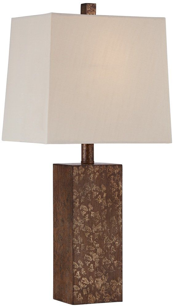 Darryl Antique Gold Rectangular Table Lamp. Rectangular table lamp. Antique gold finish. Rectangular lamp shade. On/off switch. Cast resin construction.