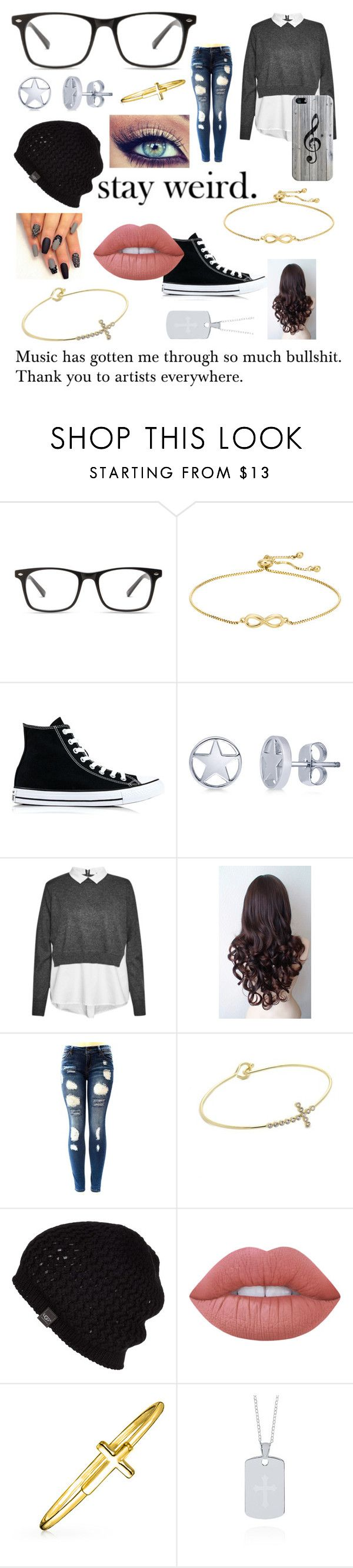 """""""'What Makes You Beautiful'"""" by caketime ❤ liked on Polyvore featuring Converse, BERRICLE, French Connection, New Directions, UGG Australia, Lime Crime, Bling Jewelry, Belk & Co. and Casetify"""