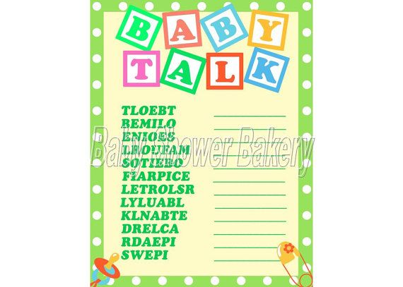 Gender Neutral Baby Shower Game, Baby Word Scramble, Green Baby Shower Game, Instant Download Baby Shower, Printable Game on Etsy, $5.50