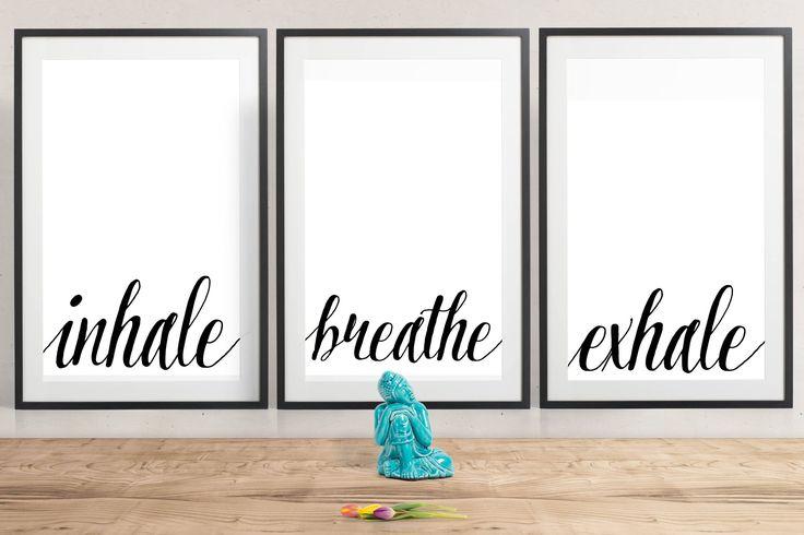 The essential Yoga Art Print Set of 4 digital downloads Inhale, Exhale, Breathe, Namaste  https://www.etsy.com/au/listing/536751049/the-yoga-print-set-inhale-exhale-breathe