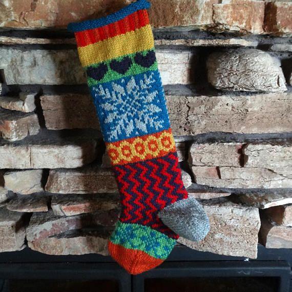 Christmas Stocking Personalized Christmas Stocking Knit
