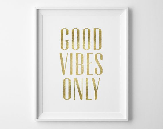 Inspirational Art Good Vibes Only Typography Print, Inspirational Quote Matte Faux Gold Office Decor Motivational Wall Art, Best Friend Gift