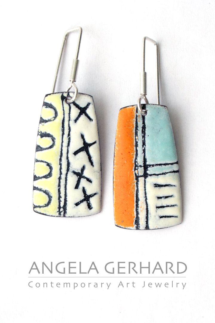 Vitreous enamel earrings, sgraffito technique. By Angela Gerhard.