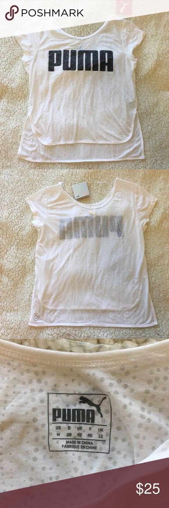 NWT Puma t shirt NWT white Puma shirt. Writing is a faded black/grey color Puma Tops Tees - Short Sleeve