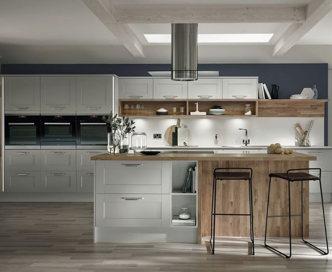 Fairford Dove Grey Shaker style Kitchen from Howdens Joinery.