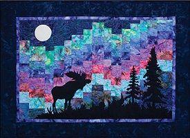 Moose and northern lights in Alaska | Northern Lights Moose Quilt Kit