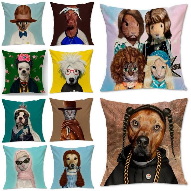 New Animal Dog Cat Star Cosplay Cushion Cover Square 45cm Cotton Linen Throw Pillow Case Home Sofa Decor Seat Cushions For Outdoor Chairs Outside Cushion Covers From Happytraveltime, $10.92| Dhgate.Com