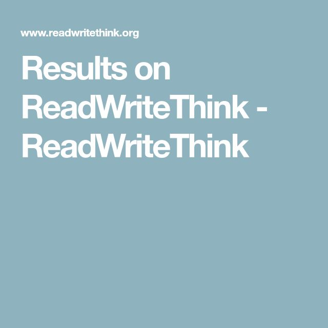 Results on ReadWriteThink - ReadWriteThink