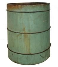 "A403 Wooden  grain measure bucket . Double sided, 1 peck and 1/2 peck. Staved and wire strapped construction, beautiful  dry blue paint. 12 1/2"" tall x 11' diameter bottom"