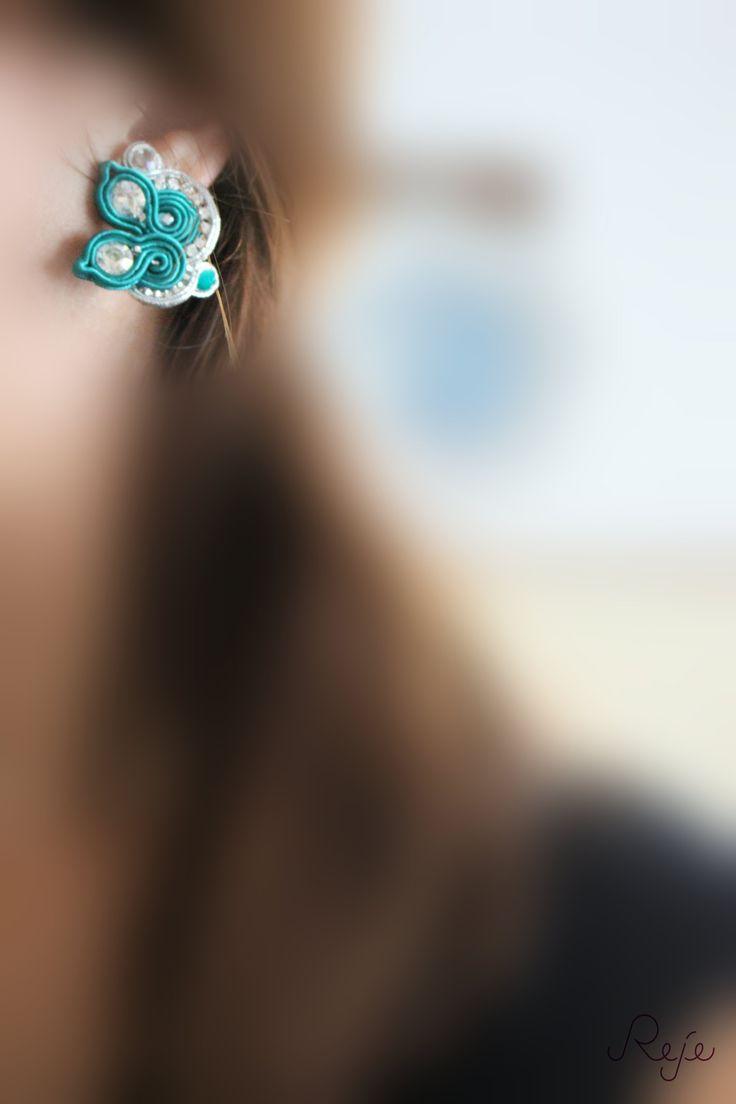 "Soutache set ""Teal"", Handmade in Italy, entirely handsewn. Embroidery, soutache, bracelet, earrings, ring. Reje creations https://www.facebook.com/rejegioielliinsoutache"