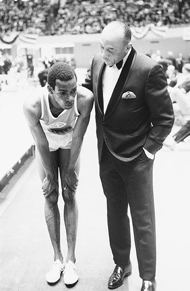 Long jump2: Jesse Owens and UTEP Bob Beamon, 1968 NCAA Championships.  When the young long-jumper Bob Beamon met the four-times Olympic champion Jessie Owens at the NCAA Track & Field championships in March 1968, he was only a matter of months from shattering the world record Photograph: Art Shay/Sports Illustrated/Getty Images