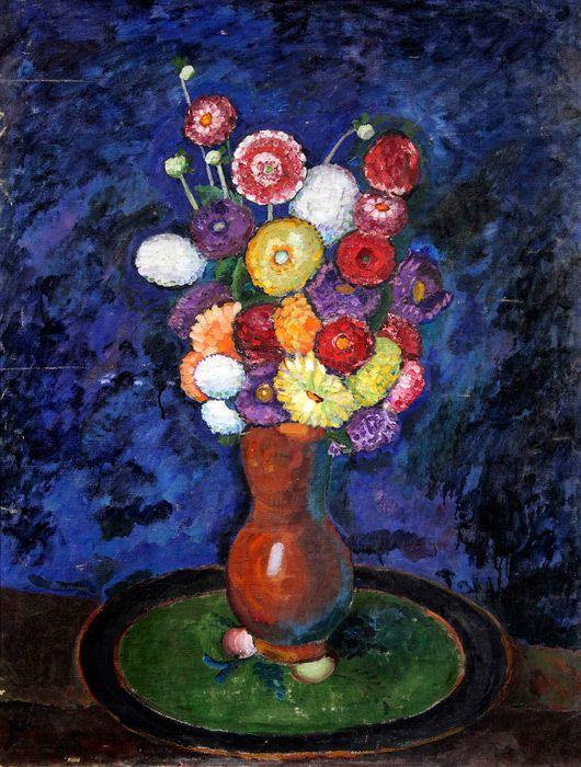 Илья Машков. Натюрморт. Георгины. 1912-1913