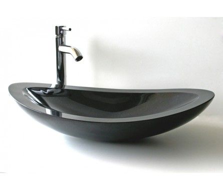 Nero - Above Counter Shanxi Black Granite Basin For Modern Bathrooms By Nova Deko