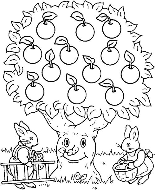 Rabbit And Apple Tree Coloring Page