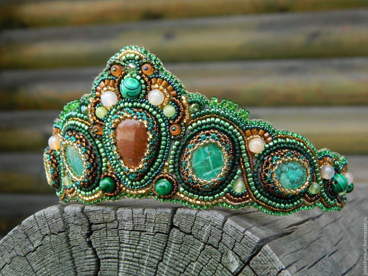 "Buy Tiara-kokoshnik ""rendezvous"" - green, headband, diadem with jewels, headdress, hair ornament"