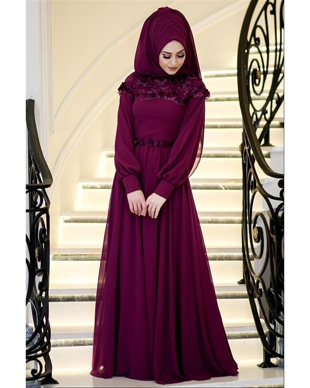 Simli Bordo Tesettur Abiye Elbise Urun Kodu 4156br Beden 36 38 40 42 44 46 Tur Fashion Hijab Fashion Dresses