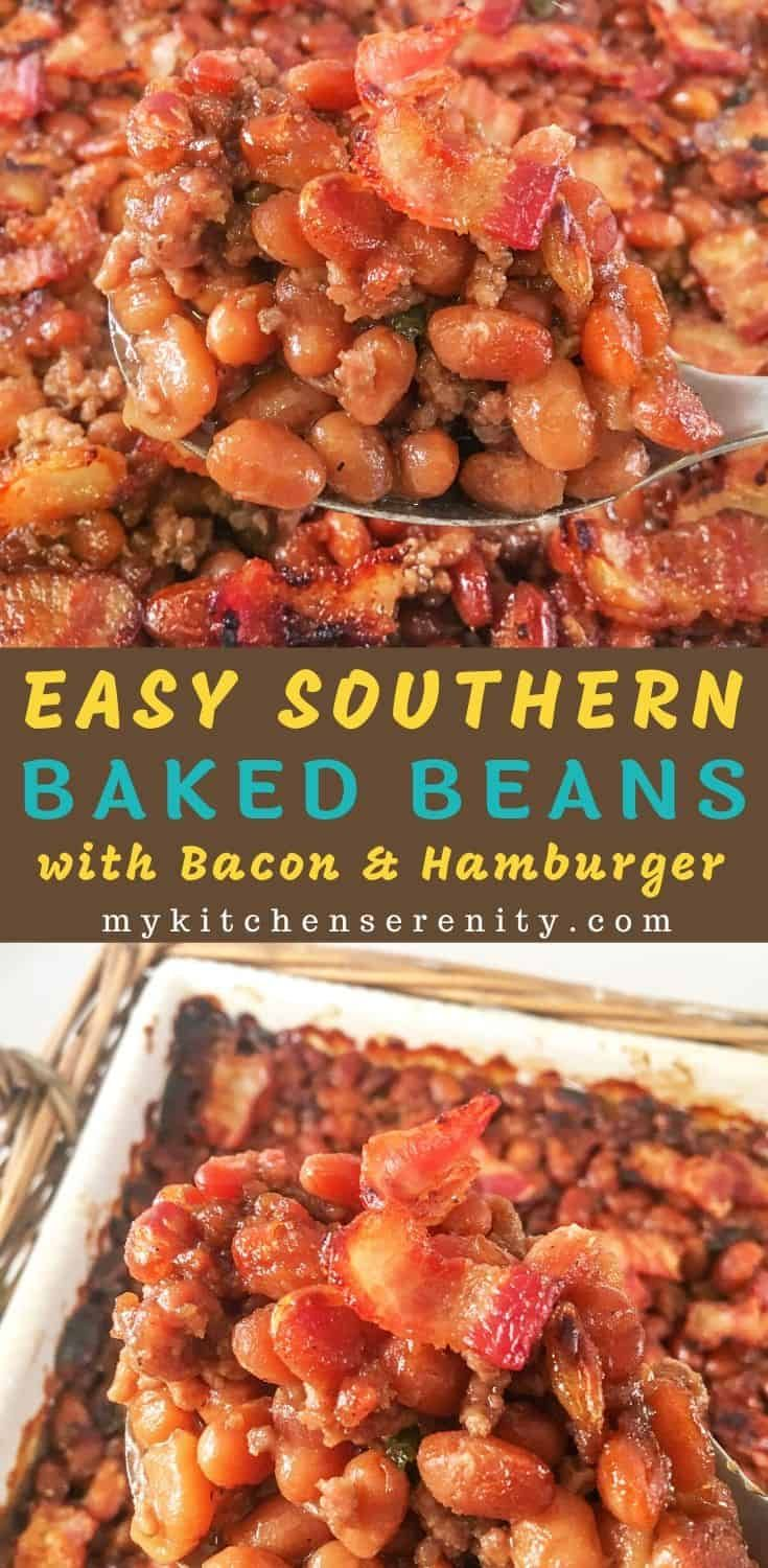 Easy Baked Beans With Ground Beef Bacon And Brown Sugar In 2020 Easy Baked Beans Best Baked Beans Baked Beans