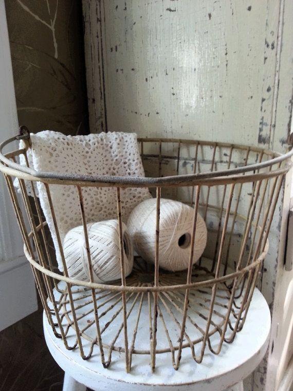 Large Vintage Wire Farmhouse Egg Basket    Have Plans For You