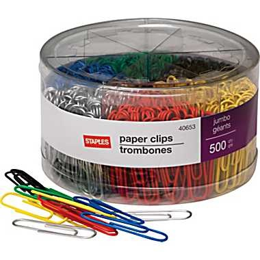 Staples® Jumbo Vinyl-Coated Paper Clips, 500/Tub   Order through stapleslink account.
