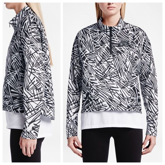 NIKE PACKABLE BREAKER HALF-ZIP NIKE PACKABLE BREAKER HALF-ZIP. This lightweight jacket features a half-zip closure with a front pocket that transform into a hands free carry pouch. Polyester.  Windbreaker like. Drop tail hem.  Brand new with tags still attached.  No trades. Nike Jackets & Coats