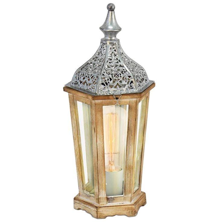 Lámpara de mesa Farol Arabe Madera Plata #Vintage