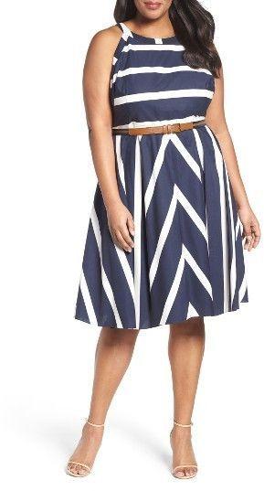 Plus Size Stripe Fit & Flare Dress