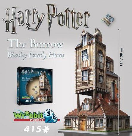 """Harry Potter's The Burrow: Weasley Family Home. 415 Piece 3D Jigsaw Puzzle Made by Wrebbit Puzz-3D  The Burrow (aka: The Weasley Family Hame) from Harry Potter  415 Piece 3 dimensional jigsaw puzzle made by Wrebbit Puzz-3D: The leaders in 3D Puzzles.  Ronald Bilius """"Ron"""" Weasley (born March 1, 1980) is a pure-blood wizard. He is best friends with Harry Potter & Hermione Granger  For ages 12 and up. 15"""" Tall when assembled. Beautiful Harry Potter Showpiece."""