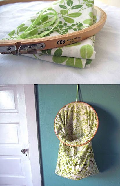 """DIY... vintage pillow case + 14"""" embroidery hoop + some ribbon = stay-open, hang-it-up would be cute to hold all my old grocery bags"""