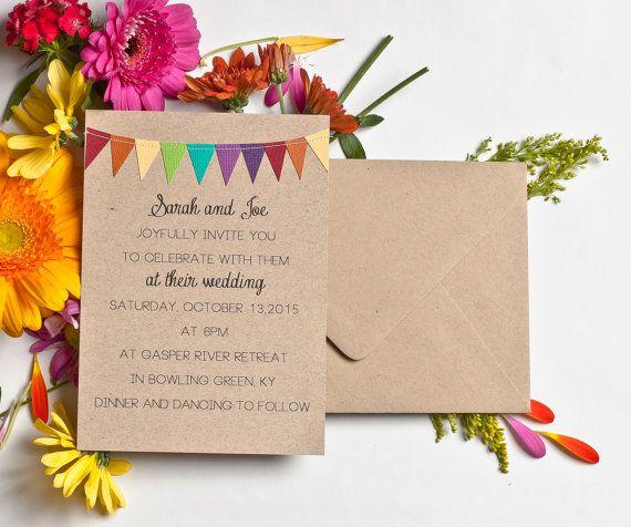 Bunting Invitations Kraft Paper Wedding Invites Casual Invitation Suite Rainbow Party Invitation Colorful Announcement