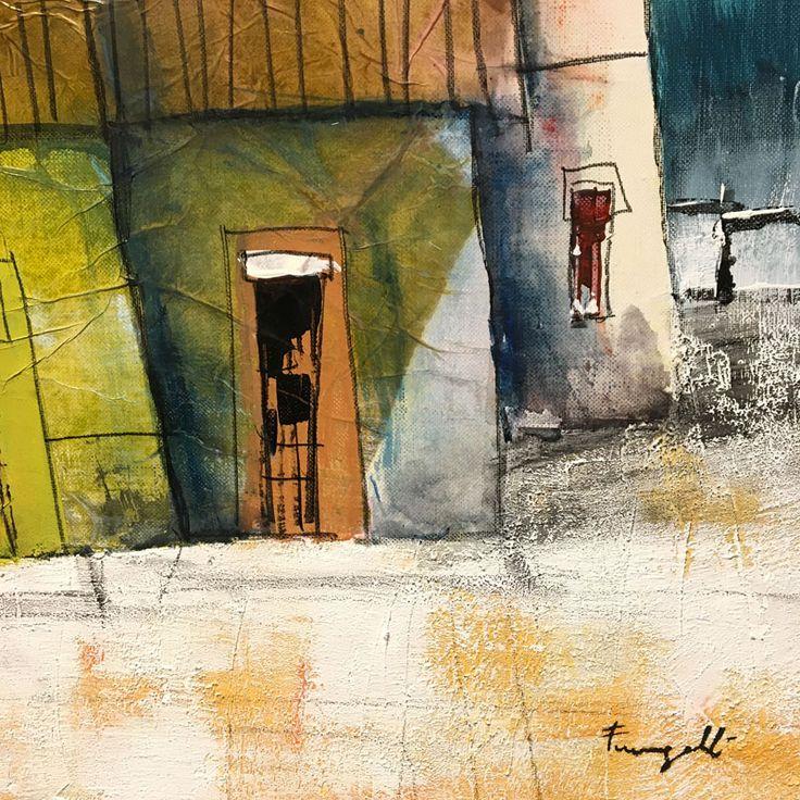 Tecnica dell'artista Paolo Fumagalli: colore acrilico, carboncino, carta velina e malte