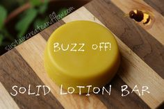 """Solid Bug Repellant Bar: 0.5 ounce coconut oil 0.5 ounce shea butter 0.5 ounce beeswax 1/2 teaspoon (or 40-60 drops) essential oils* 15 drops lavender 15 drops cedarwood 15 drops lemongrass 15 drops """"Bugless"""" blend (purchased at my local herbal shop).  """"Bugless"""" contains citronella, tea tree, lavender and peppermint"""