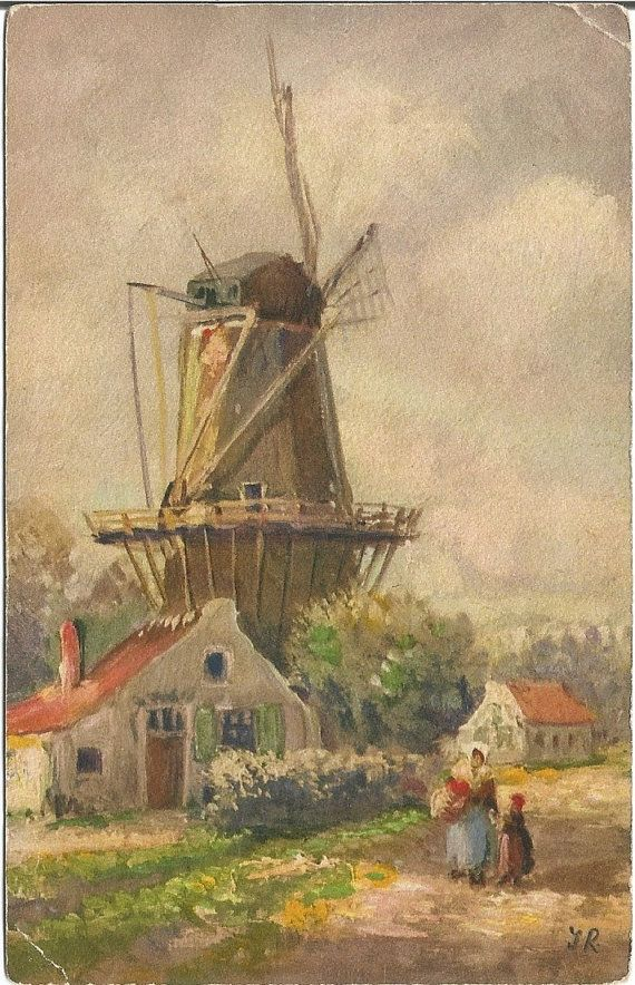 Windmill and a Swiss Country Cottage Scene by postcardsintheattic