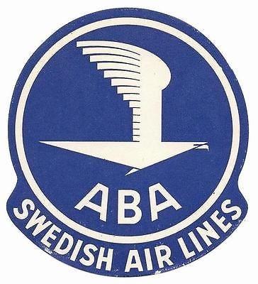 1947 Sweden ABA Swedish Airlines Original Label / Sticker