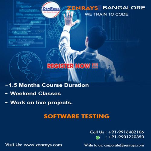 Registration opens for the upcoming new batch for Software Testing Training in Bangalore at ZenRays. Hands-on coding from day 1 of the class. The course includes working on real time Live Project. We also provide 100% Placement Support. (Classroom & Online options available). For more info, Visit www.zenrays.com | Write to corporate@zenrays.com | Call: +919916482106 | WhatsApp: 9901220350