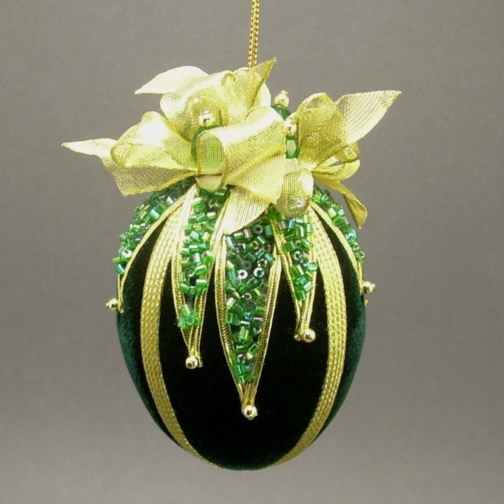 """Green Velvet Egg Victorian Inspired Christmas Ornament - Handmade with Cut Glass Bugle Bead """"Glitter"""""""