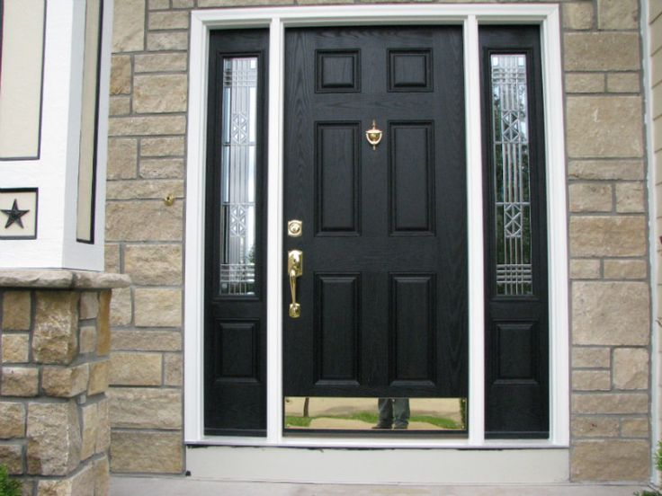 black front door with sidelightsBest 25 Black entry doors ideas on Pinterest  Painted storm door
